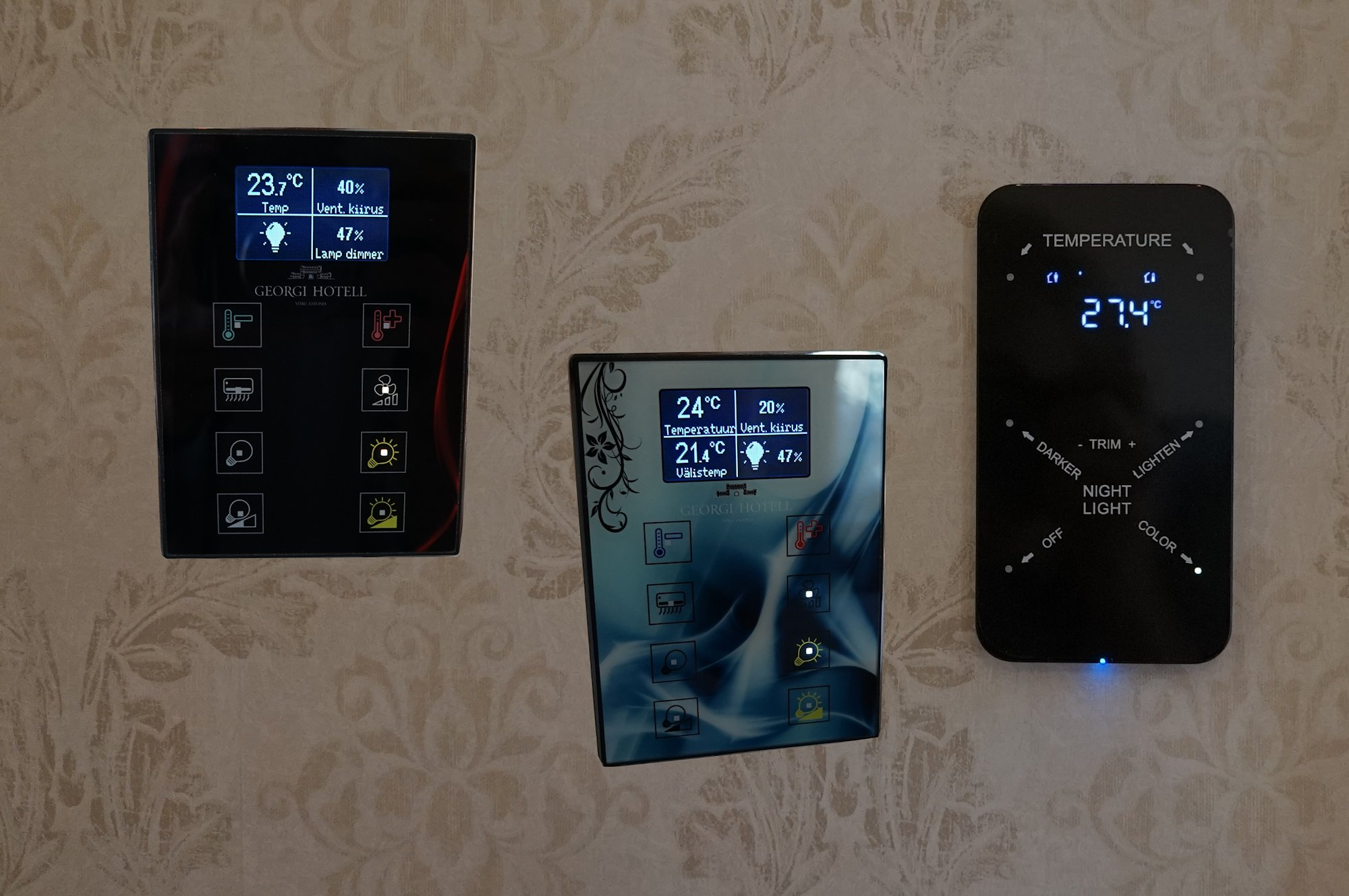 KNX- automaatika ekraanid, mis juhivad tubades erinevaid funktsioone